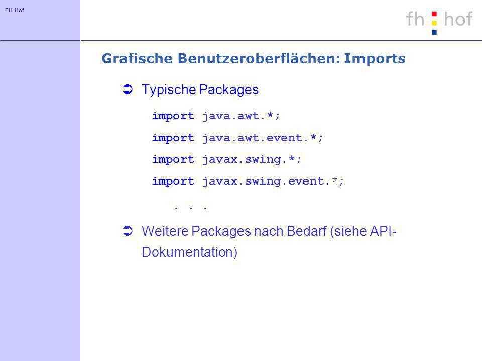 FH-Hof Grafische Benutzeroberflächen - Programmcode für ein Window class MainWindow extends JFrame { JPanel contentPane; // Hier Deklaration aller Komponenten...