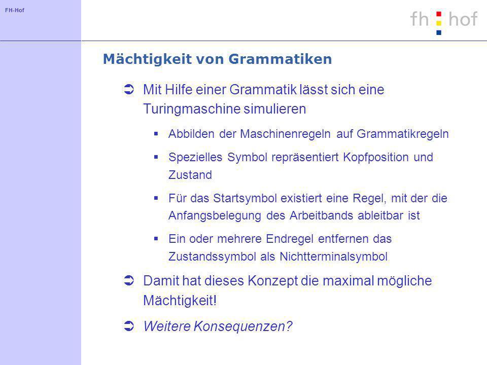 FH-Hof Mächtigkeit von Grammatiken Mit Hilfe einer Grammatik lässt sich eine Turingmaschine simulieren Abbilden der Maschinenregeln auf Grammatikregel