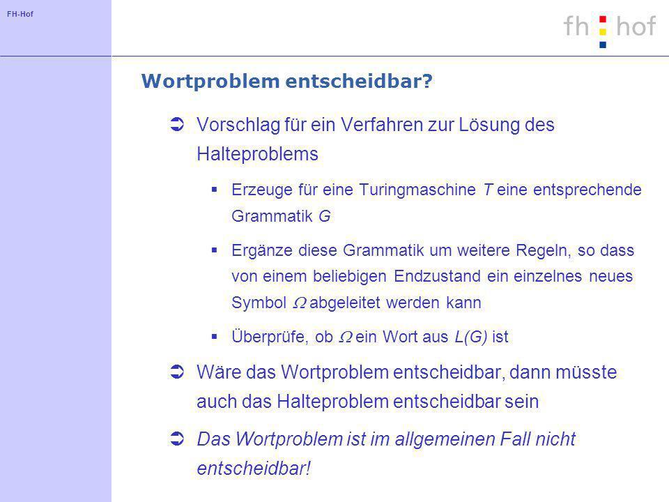 FH-Hof Wortproblem entscheidbar? Vorschlag für ein Verfahren zur Lösung des Halteproblems Erzeuge für eine Turingmaschine T eine entsprechende Grammat