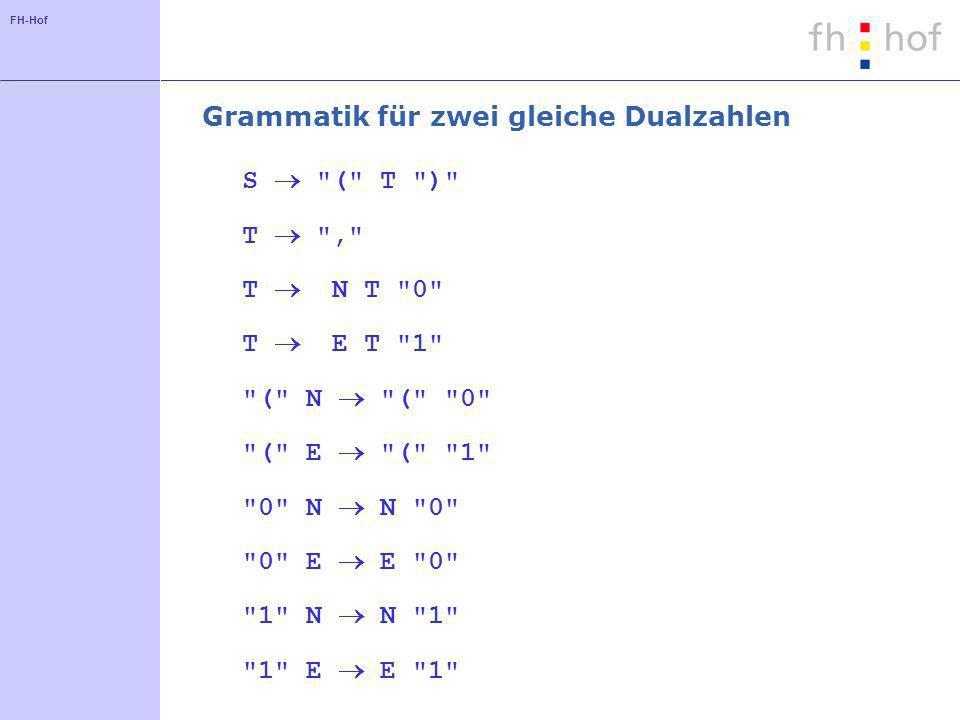 FH-Hof Grammatik für zwei gleiche Dualzahlen S