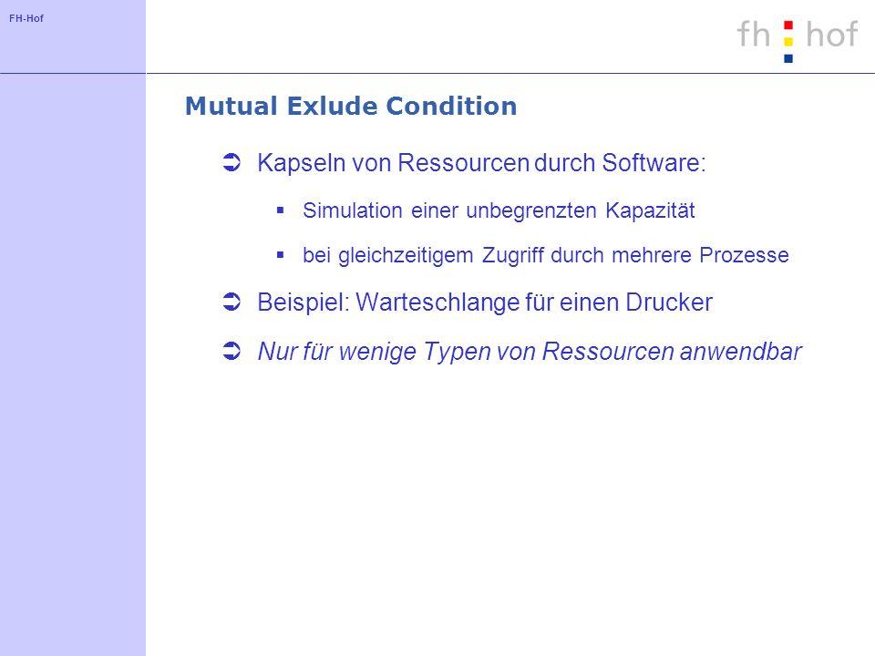 FH-Hof Mutual Exlude Condition Kapseln von Ressourcen durch Software: Simulation einer unbegrenzten Kapazität bei gleichzeitigem Zugriff durch mehrere Prozesse Beispiel: Warteschlange für einen Drucker Nur für wenige Typen von Ressourcen anwendbar