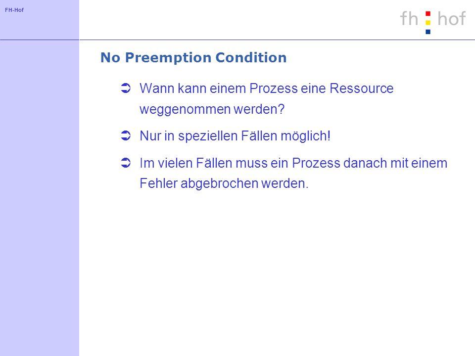 FH-Hof No Preemption Condition Wann kann einem Prozess eine Ressource weggenommen werden.