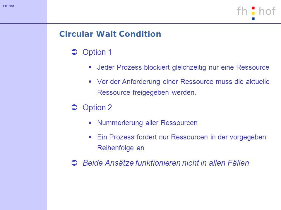 FH-Hof Circular Wait Condition Option 1 Jeder Prozess blockiert gleichzeitig nur eine Ressource Vor der Anforderung einer Ressource muss die aktuelle Ressource freigegeben werden.