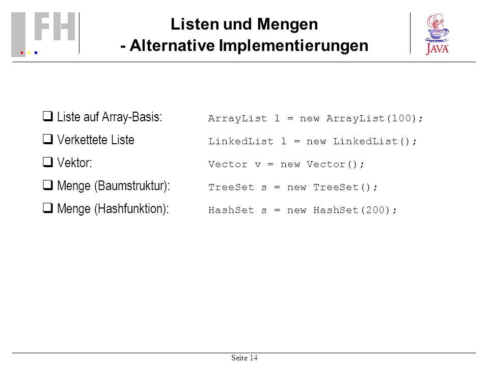 Seite 14 Listen und Mengen - Alternative Implementierungen Liste auf Array-Basis: ArrayList l = new ArrayList(100); Verkettete Liste LinkedList l = new LinkedList(); Vektor: Vector v = new Vector(); Menge (Baumstruktur): TreeSet s = new TreeSet(); Menge (Hashfunktion): HashSet s = new HashSet(200);