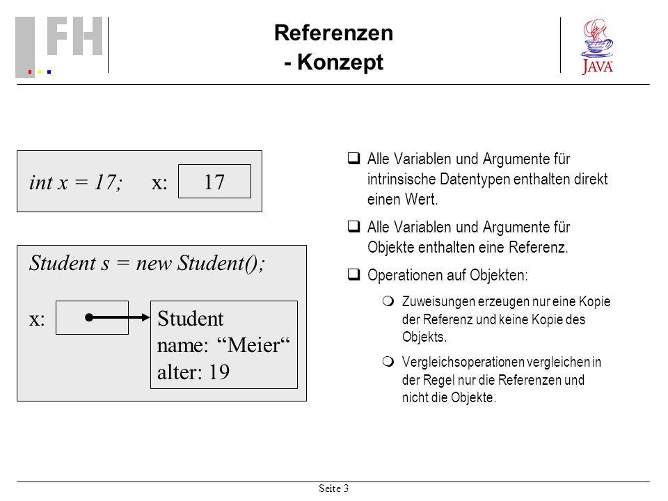 Seite 3 Referenzen - Konzept Alle Variablen und Argumente für intrinsische Datentypen enthalten direkt einen Wert. Alle Variablen und Argumente für Ob