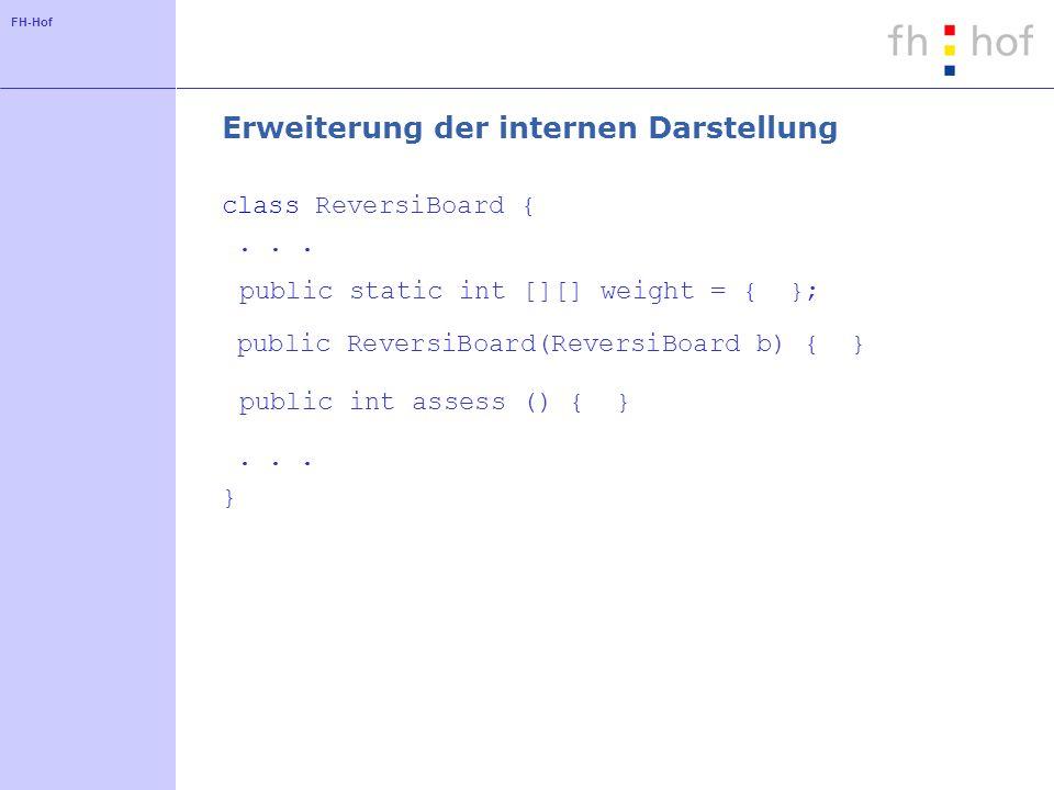 FH-Hof Erweiterung der internen Darstellung class ReversiBoard {... public static int [][] weight = { }; public ReversiBoard(ReversiBoard b) { } publi