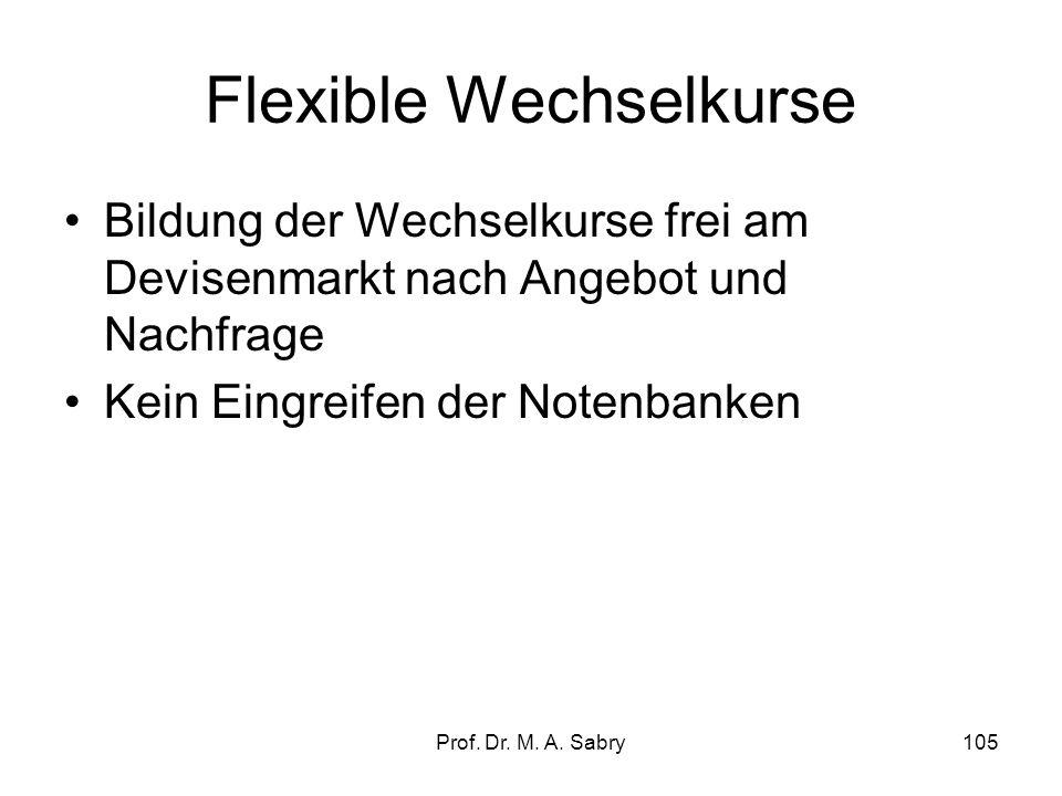 Prof. Dr. M. A. Sabry104 Wechselkurssysteme Feste Wechselkurssysteme: -Währungsparitäten nach Vereinbarung der beteiligten Länder -Abweichungen innerh