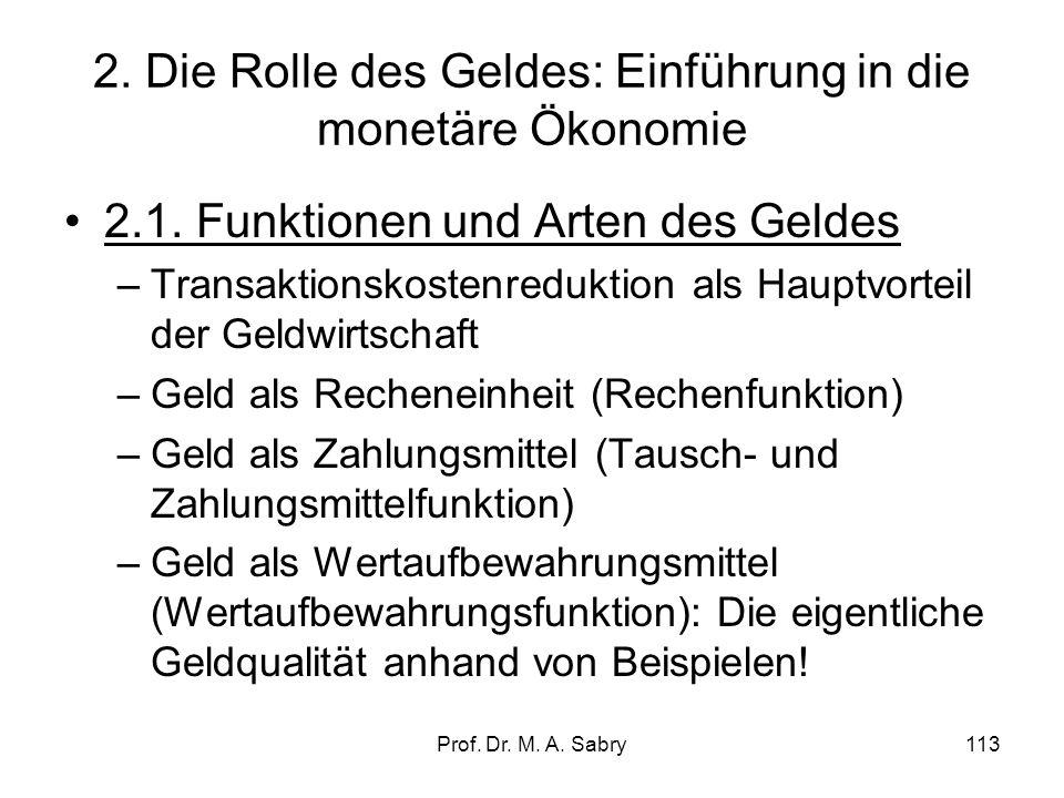 Prof.Dr. M. A. Sabry113 2. Die Rolle des Geldes: Einführung in die monetäre Ökonomie 2.1.