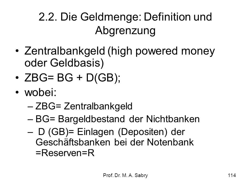 Prof. Dr. M. A. Sabry113 2. Die Rolle des Geldes: Einführung in die monetäre Ökonomie 2.1. Funktionen und Arten des Geldes –Transaktionskostenreduktio