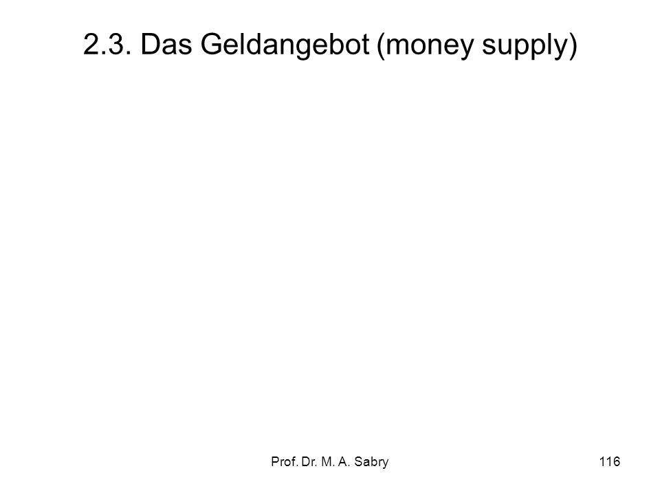 Prof. Dr. M. A. Sabry115 Die Geldmenge: Definition und Abgrenzung Geschäftsbankengeld (Giralgeld) GBG= D(NB) wobei: –GBG= Geschäftsbankengeld (Giralge