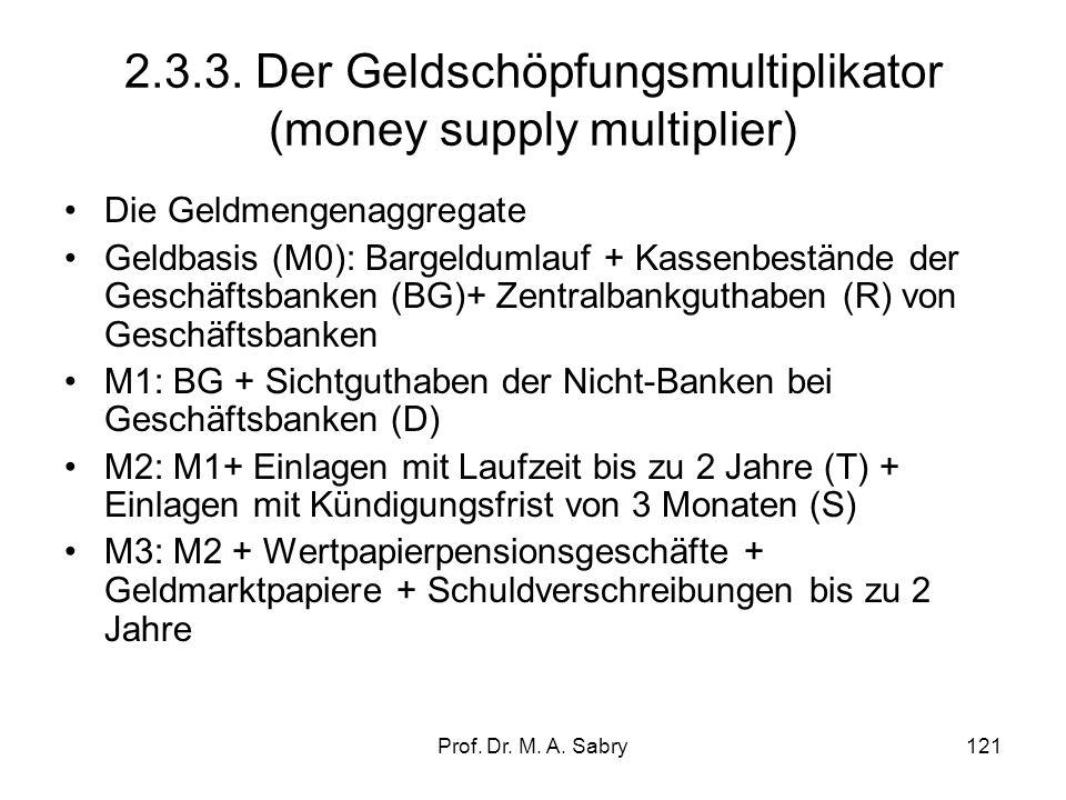 Prof. Dr. M. A. Sabry120 Beispiel: Geldschöpfungsmultiplikator(nur Sichteinlagen ) EZB kauft im Rahmen eines Offenmarktgeschäfts Wertpapiere in Höhe v
