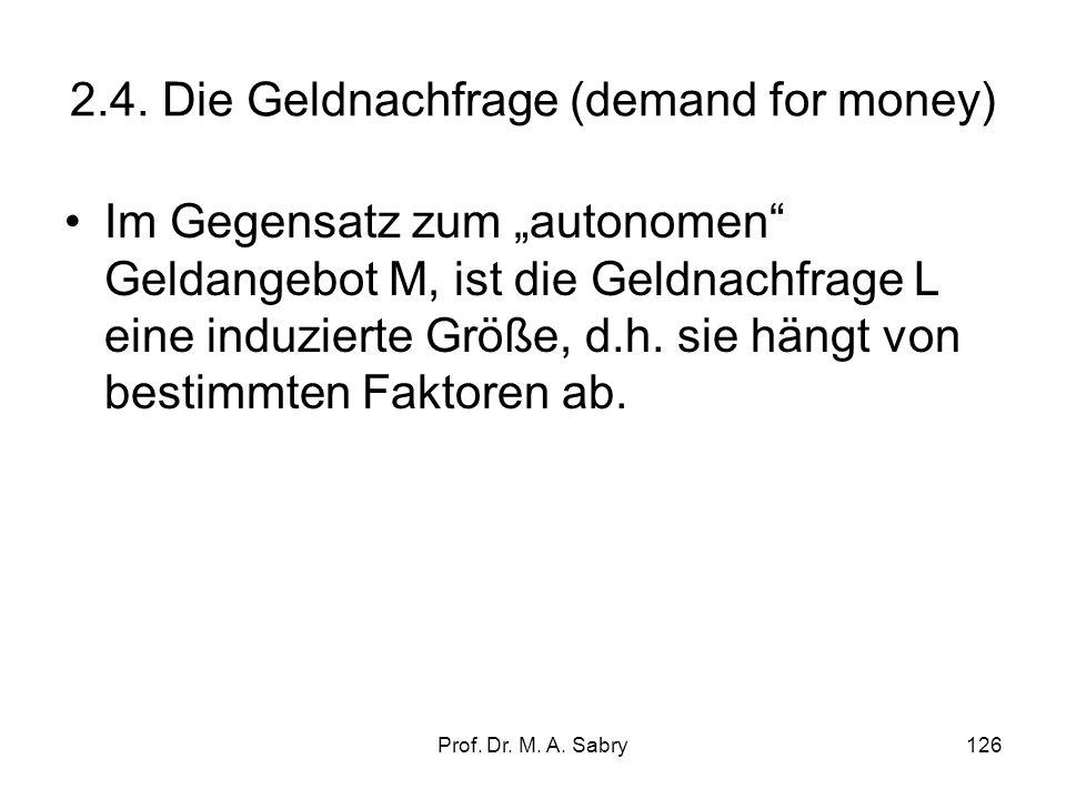 Prof. Dr. M. A. Sabry125 Weltwirtschaftskrise Jahr Arbeits- Veränder- M1 Geld- Geldschöpf- losen ungsrate Mrd basis ungsmultipl. quote BIP $. 1929 3,2