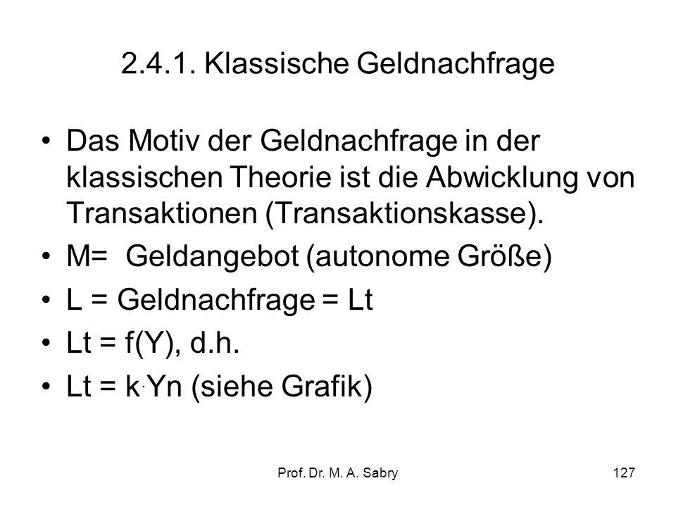 Prof. Dr. M. A. Sabry126 2.4. Die Geldnachfrage (demand for money) Im Gegensatz zum autonomen Geldangebot M, ist die Geldnachfrage L eine induzierte G