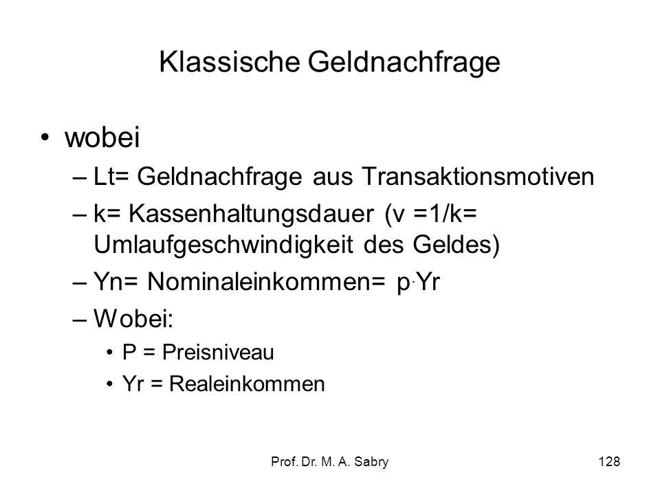 Prof. Dr. M. A. Sabry127 2.4.1. Klassische Geldnachfrage Das Motiv der Geldnachfrage in der klassischen Theorie ist die Abwicklung von Transaktionen (