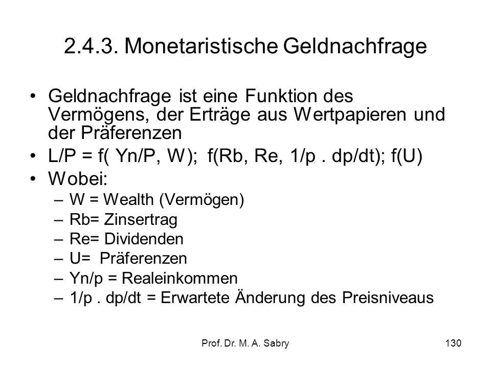 Prof. Dr. M. A. Sabry129 2.4.2. Keynesianische Liquiditätspräferenz In der modernen Geldtheorie keynesianischer Prägung kommt ein weiteres Motiv der G