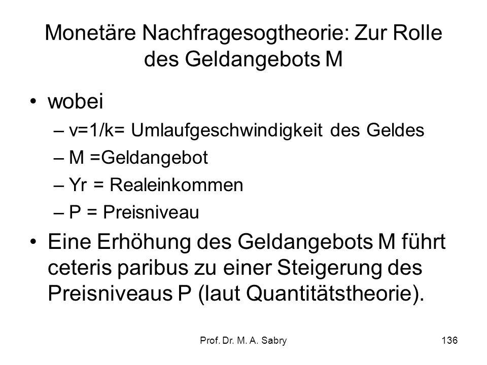 Prof. Dr. M. A. Sabry135 2.6.2.1. Monetäre Nachfragesogtheorie: Zur Rolle des Geldangebots M Ableitung der Quantitätstheorie als Erklärungsansatz für