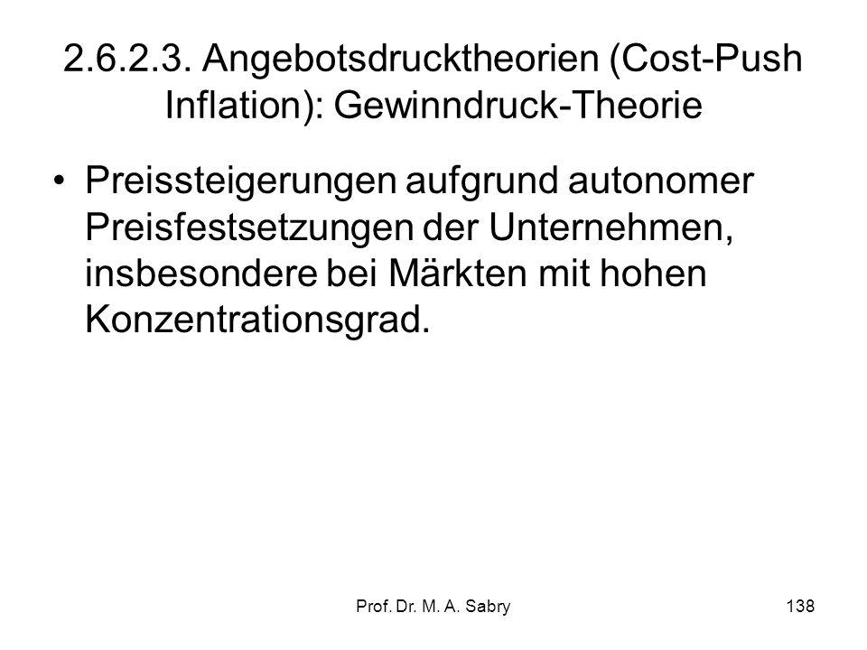 Prof. Dr. M. A. Sabry137 2.6.2.2. Nicht-Monetäre Nachfragesogtheorie Nachfrageüberhang auf den Gütermärkten als Inflationsursache. Die Komponenten der