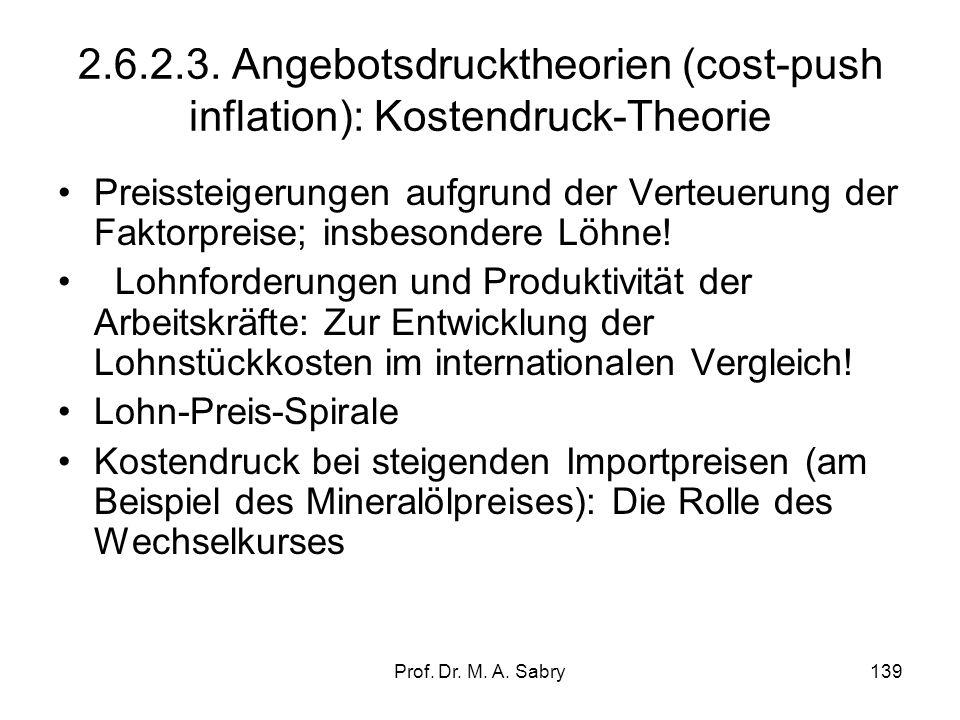 Prof. Dr. M. A. Sabry138 2.6.2.3. Angebotsdrucktheorien (Cost-Push Inflation): Gewinndruck-Theorie Preissteigerungen aufgrund autonomer Preisfestsetzu