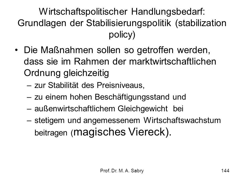 Prof. Dr. M. A. Sabry143 3. Wirtschaftspolitischer Handlungsbedarf: Grundlagen der Stabilisierungspolitik (stabilization policy) Rechtliche Grundlage