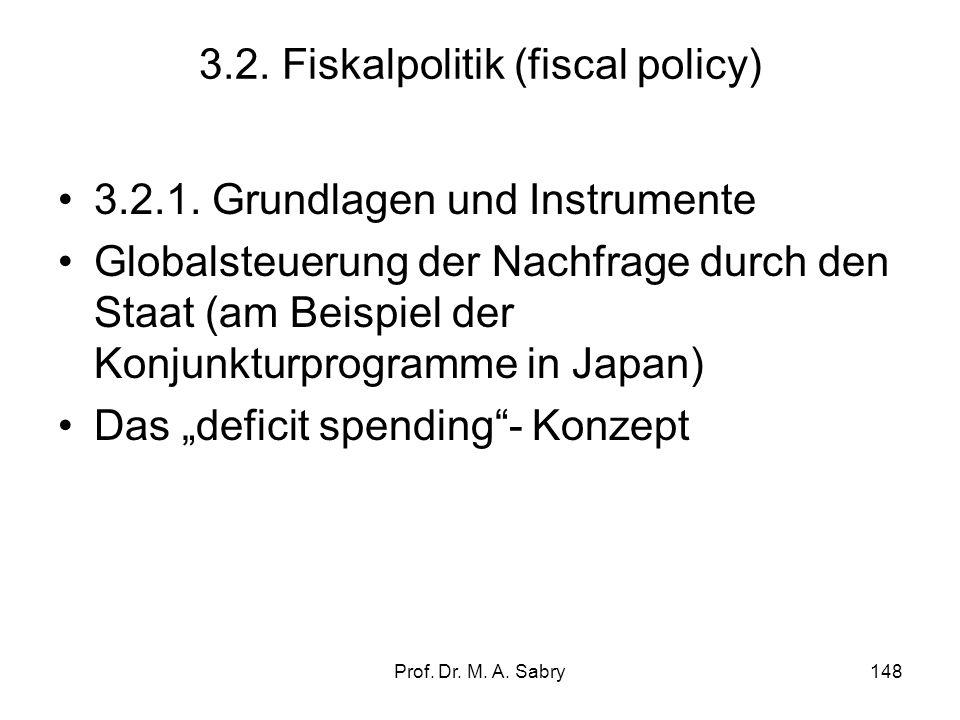 Prof.Dr. M. A. Sabry148 3.2. Fiskalpolitik (fiscal policy) 3.2.1.
