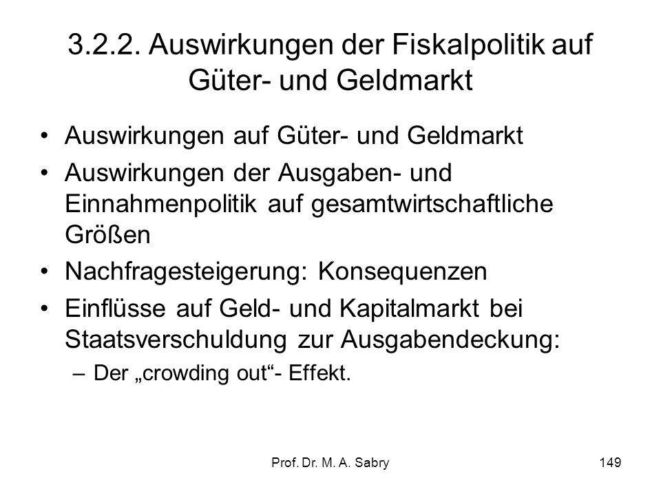 Prof. Dr. M. A. Sabry148 3.2. Fiskalpolitik (fiscal policy) 3.2.1. Grundlagen und Instrumente Globalsteuerung der Nachfrage durch den Staat (am Beispi