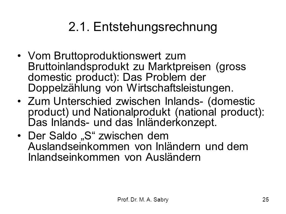 Prof. Dr. M. A. Sabry24 2. Ermittlungsarten in der VGR: 2.1.Entstehungsrechnung In der Entstehungsrechnung wird das Produktionsergebnis einer bestimmt