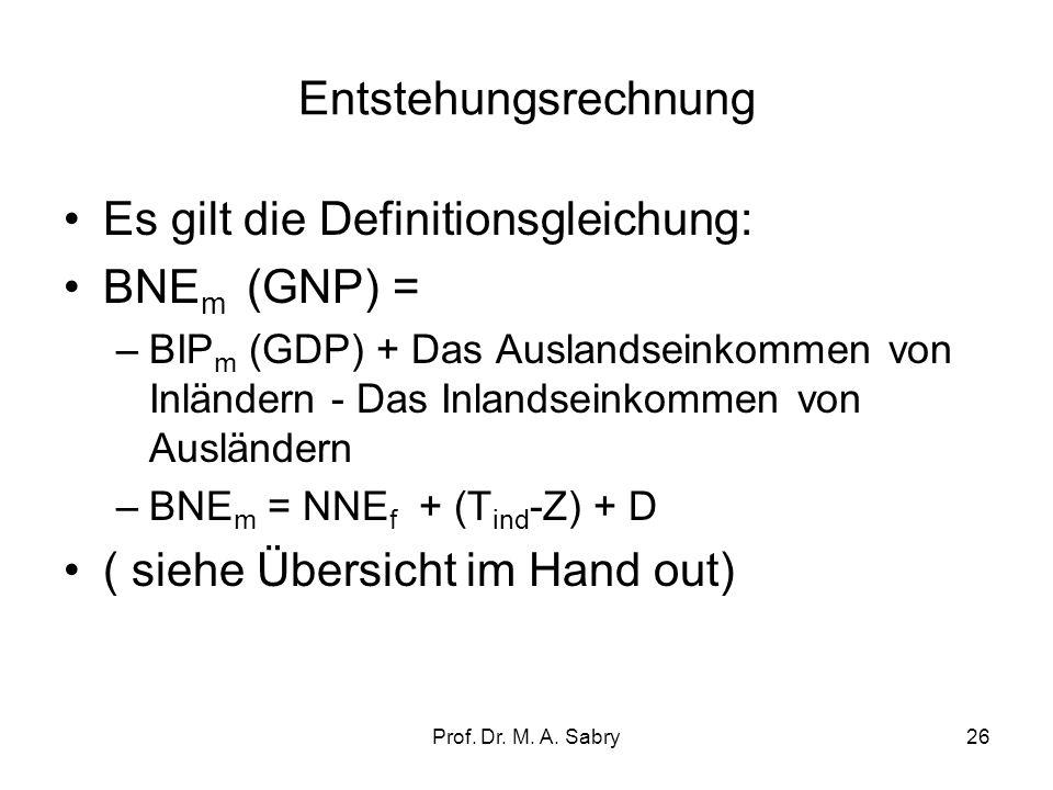 Prof. Dr. M. A. Sabry25 2.1. Entstehungsrechnung Vom Bruttoproduktionswert zum Bruttoinlandsprodukt zu Marktpreisen (gross domestic product): Das Prob