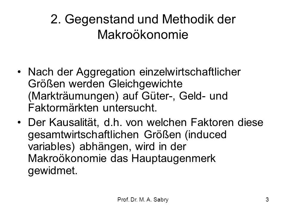 Prof. Dr. M. A. Sabry2 1. Mikro-/Makroökonomie –Im Gegensatz zur Mikroökonomie beschäftigt sich die Makroökonomie mit gesamtwirtschaftlichen Sachverha