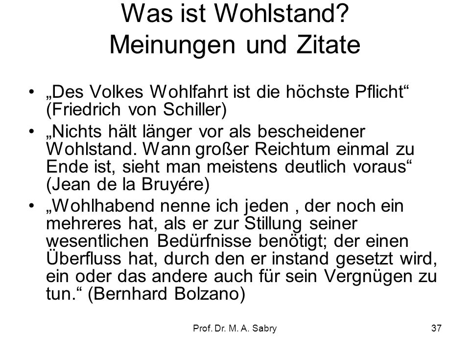 Prof.Dr. M. A. Sabry37 Was ist Wohlstand.