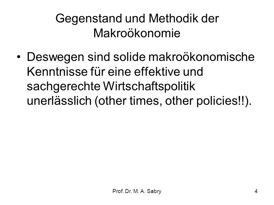Prof. Dr. M. A. Sabry3 2. Gegenstand und Methodik der Makroökonomie Nach der Aggregation einzelwirtschaftlicher Größen werden Gleichgewichte (Markträu
