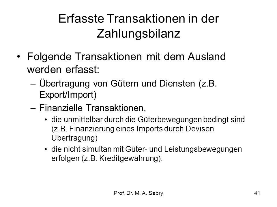 Prof. Dr. M. A. Sabry40 6. Erweiterung der VGR in einer offenen Volkswirtschaft: Zahlungsbilanz ( balance of payments) und deren Teilbilanzen Die Zahl