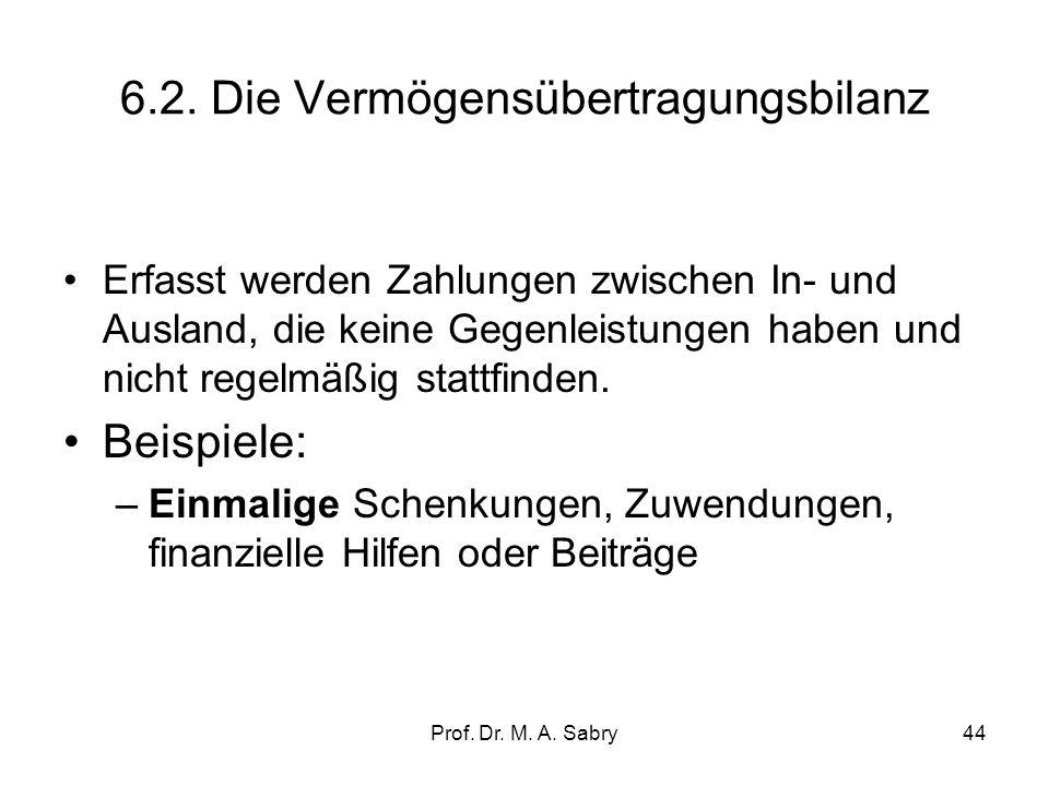 Prof. Dr. M. A. Sabry43 6.1.Die Leistungsbilanz (current account) Die Leistungsbilanz (besteht aus Teilbilanzen): –1.1.Handelsblilanz (trade balance):