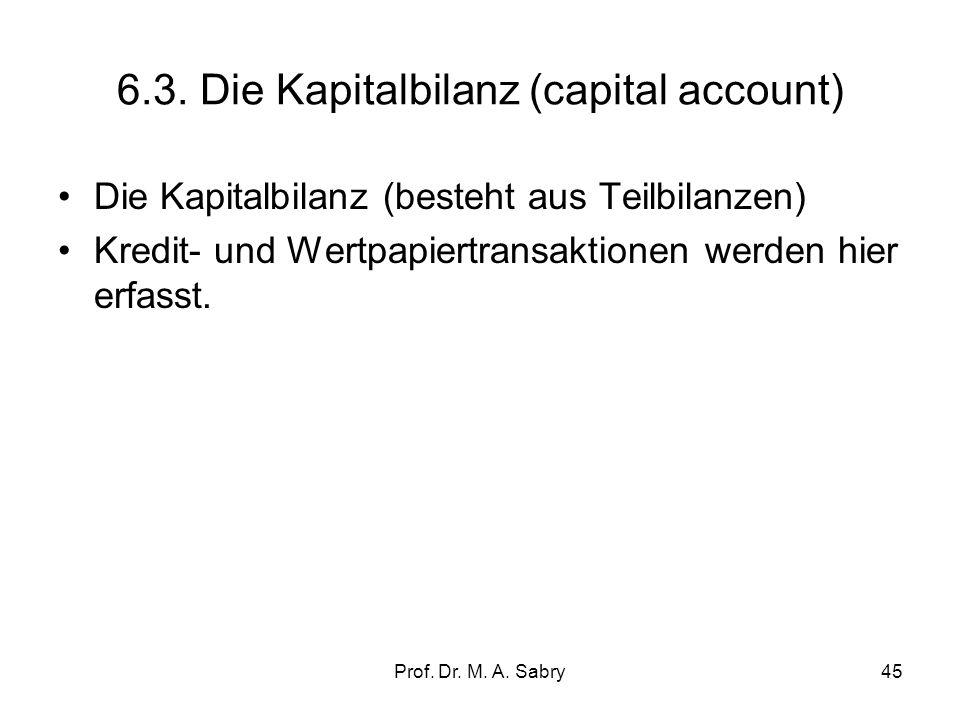 Prof. Dr. M. A. Sabry44 6.2. Die Vermögensübertragungsbilanz Erfasst werden Zahlungen zwischen In- und Ausland, die keine Gegenleistungen haben und ni