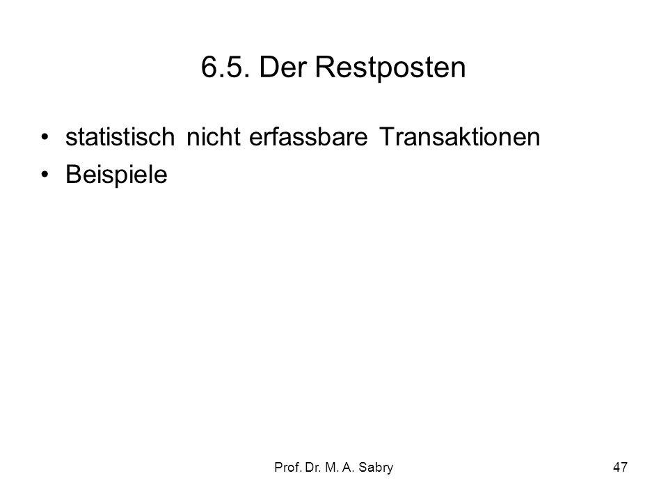Prof. Dr. M. A. Sabry46 6.4. Die Devisenbilanz (official reserve changes) Devisenbilanz= Veränderungen der Nettoauslandsaktiva der Zentralbank (Währun