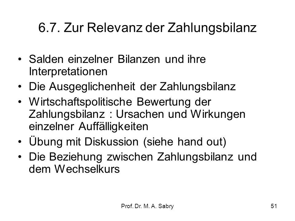 Prof. Dr. M. A. Sabry50 Zahlungsbilanz 2007 Pressenotiz der Deutschen Bundesbank vom 12.2.2008 I. Saldo Handelsbilanz (incl. Ergänzungen) + 188,0 II.