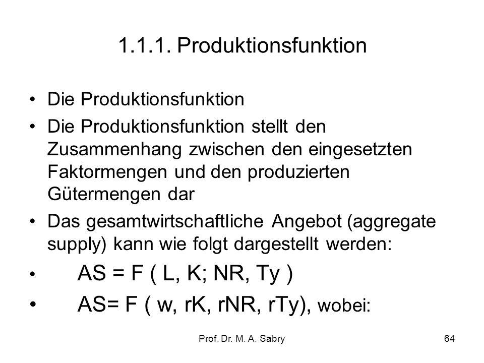 Prof. Dr. M. A. Sabry63 1.1. Steuerungsfaktoren auf der Angebotsseite (aggregate supply) Das Gesamtangebot bezeichnet die Ausbringungsmenge, die die U