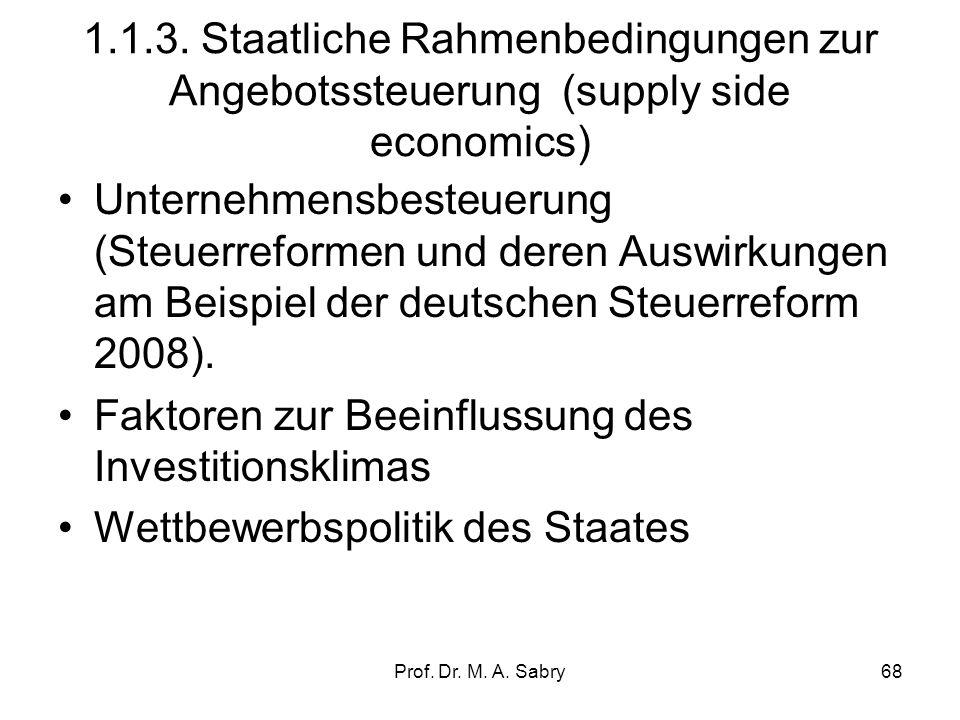 Prof. Dr. M. A. Sabry67 1.1.2. Rahmenbedingungen am Arbeitsmarkt im internationalen Vergleich Entwicklung der Lohnnebenkosten Entwicklung der Lohnstüc