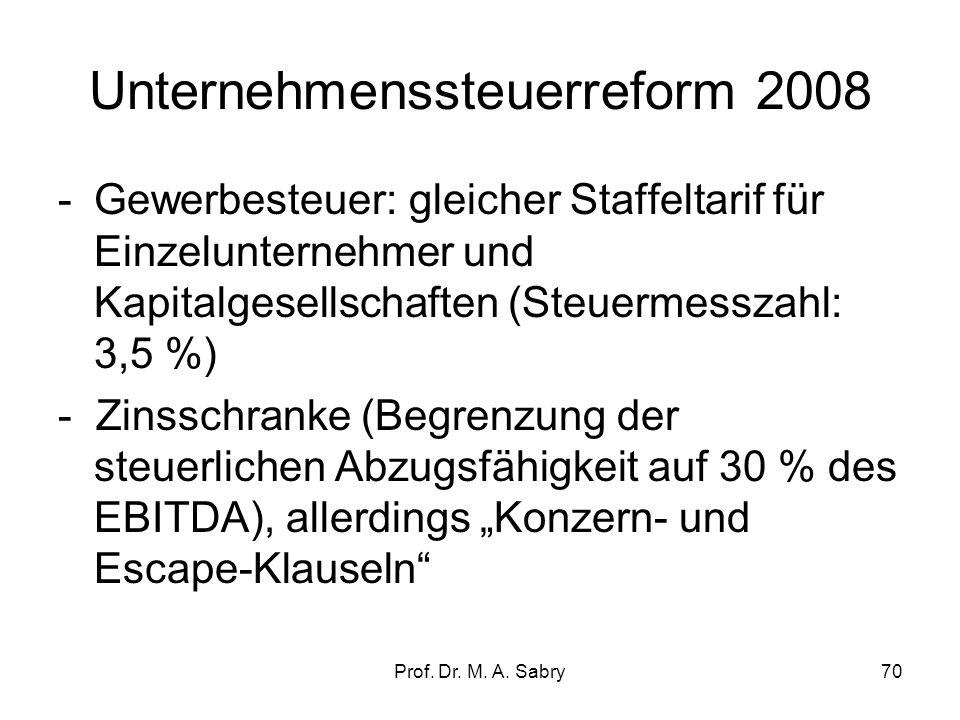 Prof. Dr. M. A. Sabry69 Unternehmenssteuerreform 2008 Ziel: Absenkung der Unternehmenssteuersätze unter 30 % -Körperschaftssteuertarif von 25 % auf 15