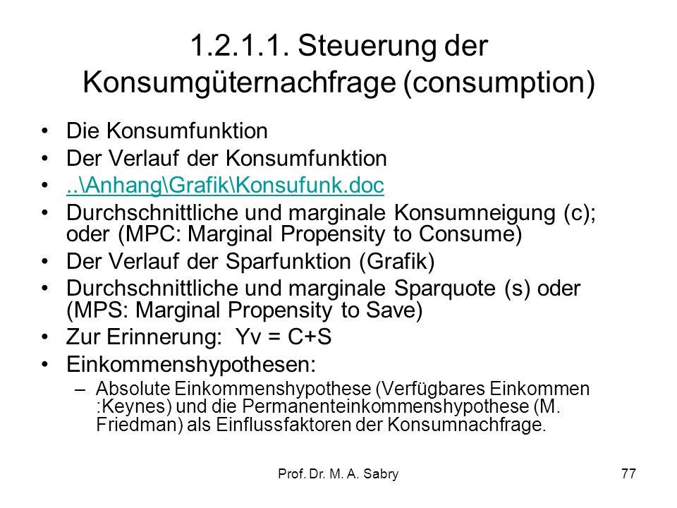 Prof. Dr. M. A. Sabry76 1.2.1. Komponenten der gesamtwirtschaftlichen Nachfrage AD = C + Ib + G + (X-M) Wobei: C = privater Konsum I b = private Inves