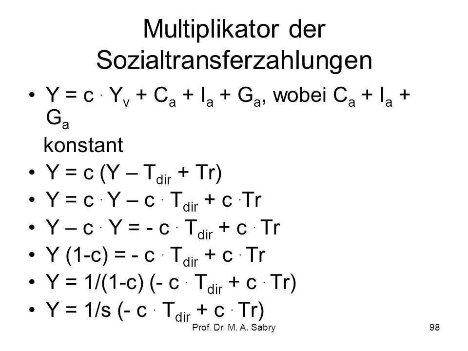 Prof. Dr. M. A. Sabry97 Steuermultiplikator (direkte Steuer) wobei: –MPC (Marginal Propensity to Consume) = c (Marginale Konsumneigung) –MPS (Marginal
