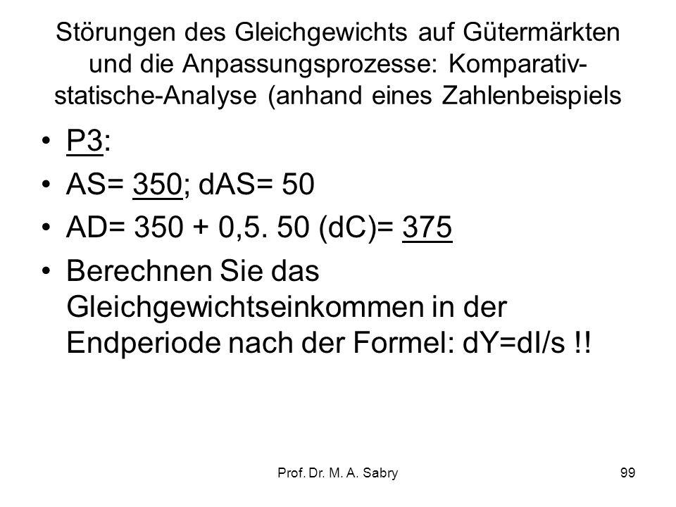 Prof. Dr. M. A. Sabry98 Multiplikator der Sozialtransferzahlungen Y = c. Y v + C a + I a + G a, wobei C a + I a + G a konstant Y = c (Y – T dir + Tr)