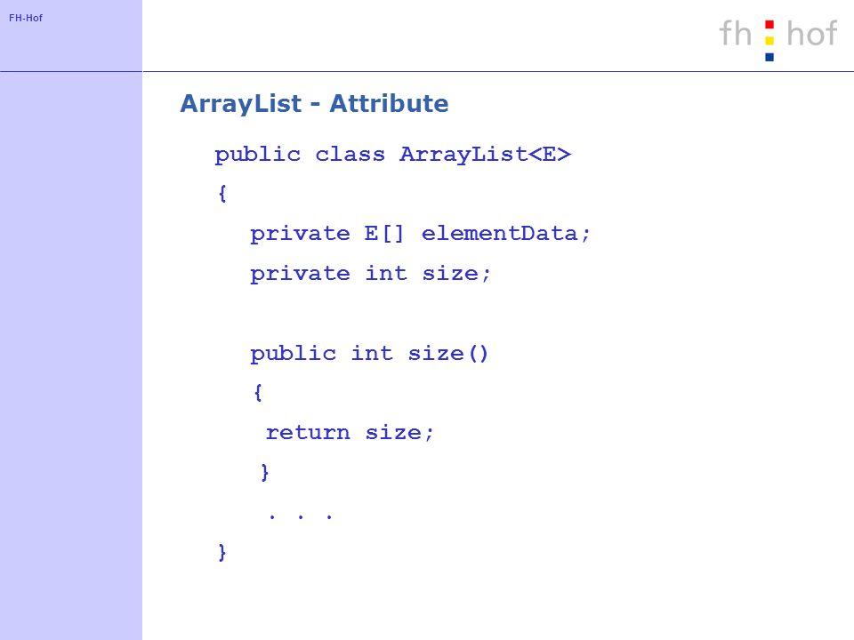 FH-Hof ArrayList - Konstruktoren public ArrayList(int initialCapacity) { if (initialCapacity < 0) throw new IllegalArgumentException( Illegal Capacity: + initialCapacity); elementData = (E[]) new Object[initialCapacity]; } public ArrayList() { this(10); }