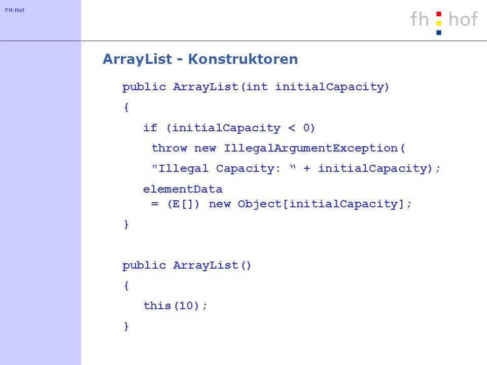 FH-Hof ArrayList - Kapazität Vergrößern public void ensureCapacity(int minCapacity) { int oldCapacity = elementData.length; if (minCapacity > oldCapacity) { Object oldData[] = elementData; int newCapacity = (oldCapacity * 3)/2 + 1; if (newCapacity < minCapacity) newCapacity = minCapacity; elementData = (E[]) new Object[newCapacity]; System.arraycopy( oldData,0,elementData,0, size); }