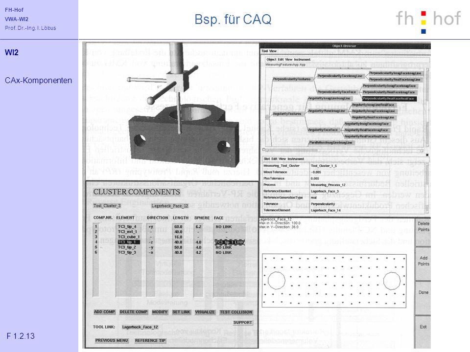 FH-Hof VWA-WI2 Prof. Dr.-Ing. I. Löbus Bsp. für CAQ WI2 CAx-Komponenten F 1.2.13