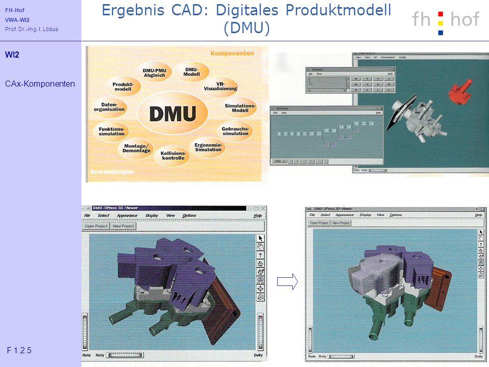 FH-Hof VWA-WI2 Prof. Dr.-Ing. I. Löbus Ergebnis CAD: Digitales Produktmodell (DMU) WI2 CAx-Komponenten F 1.2.5