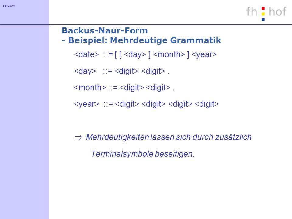 FH-Hof Backus-Naur-Form - Beispiel: Mehrdeutige Grammatik ::= [ [ ] ] ::=. ::= Mehrdeutigkeiten lassen sich durch zusätzlich Terminalsymbole beseitige