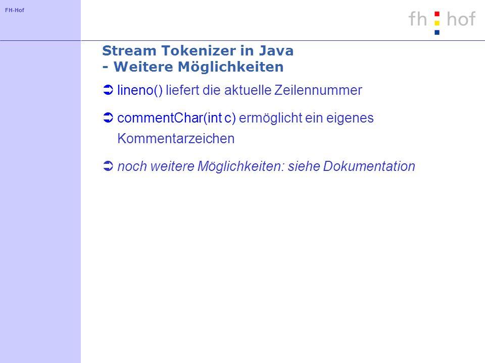 FH-Hof Stream Tokenizer in Java - Weitere Möglichkeiten lineno() liefert die aktuelle Zeilennummer commentChar(int c) ermöglicht ein eigenes Kommentar