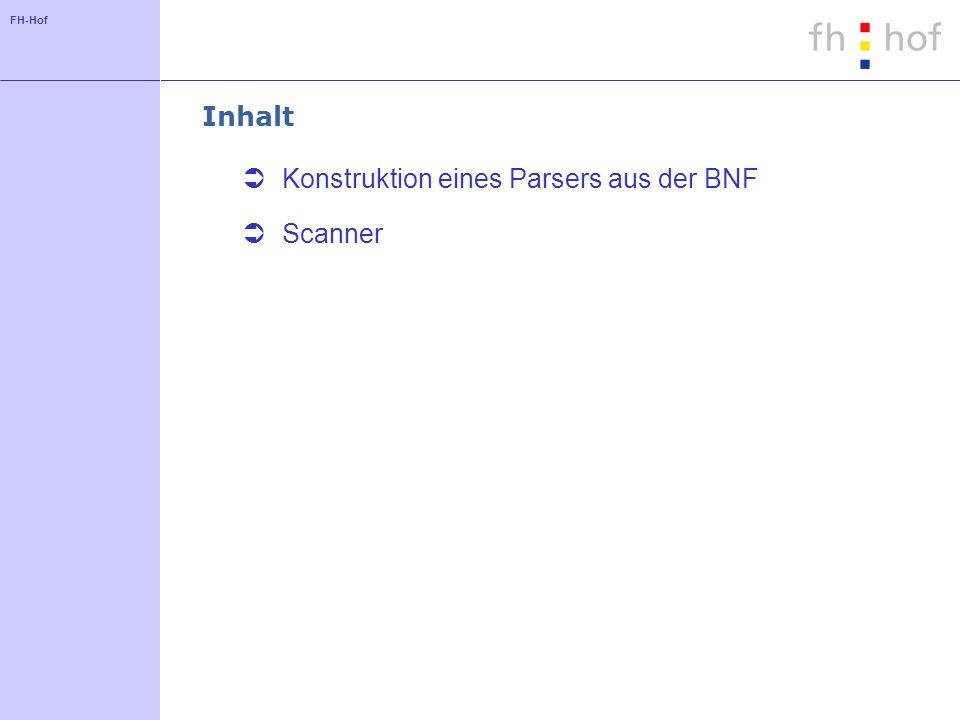 FH-Hof Inhalt Konstruktion eines Parsers aus der BNF Scanner