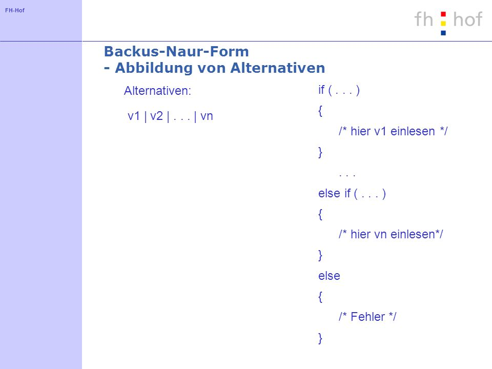 FH-Hof Backus-Naur-Form - Abbildung von Alternativen Alternativen: v1 | v2 |... | vn if (... ) { /* hier v1 einlesen */ }... else if (... ) { /* hier