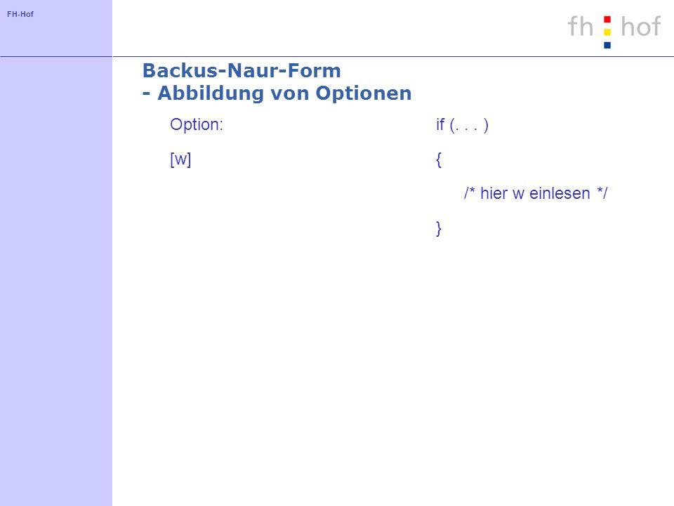 FH-Hof Backus-Naur-Form - Abbildung von Optionen Option: [w] if (... ) { /* hier w einlesen */ }